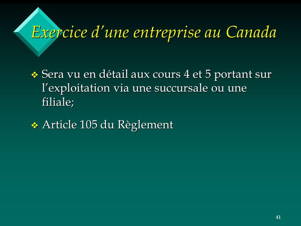 Exercice d'une entreprise au Canada