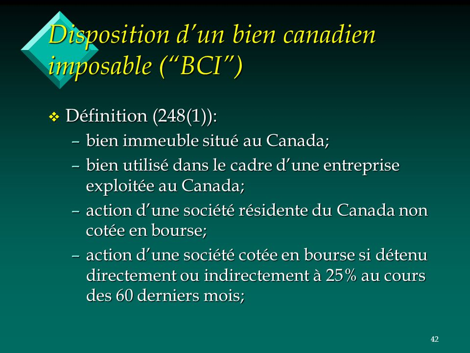 Disposition d'un bien canadien imposable ( BCI )