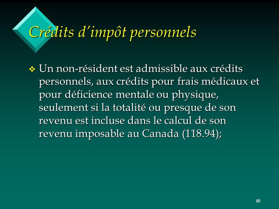 Crédits d'impôt personnels