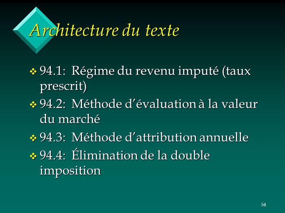 Architecture du texte 94.1: Régime du revenu imputé (taux prescrit)