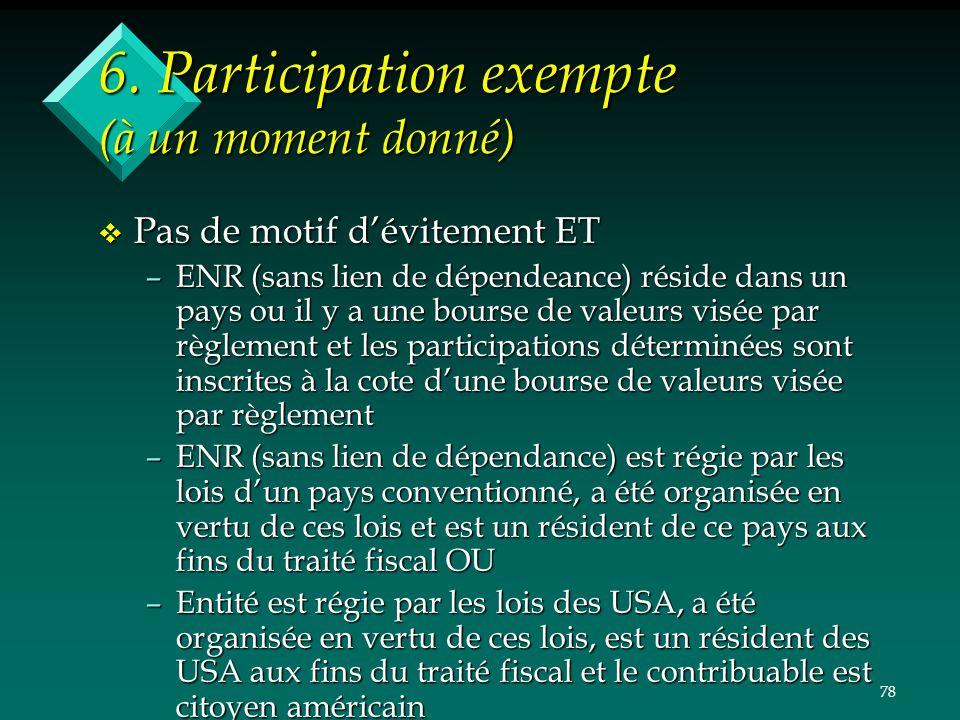 6. Participation exempte (à un moment donné)