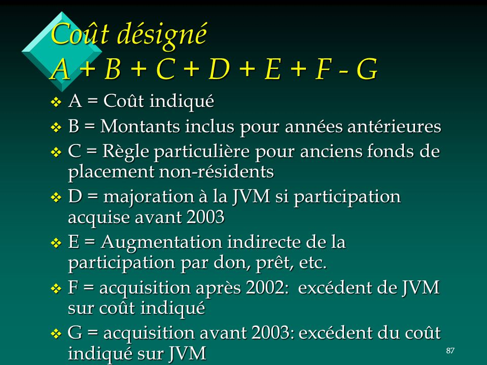 Coût désigné A + B + C + D + E + F - G
