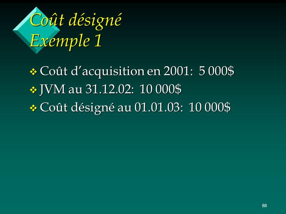 Coût désigné Exemple 1 Coût d'acquisition en 2001: 5 000$