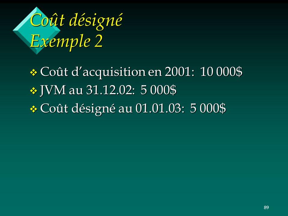 Coût désigné Exemple 2 Coût d'acquisition en 2001: 10 000$
