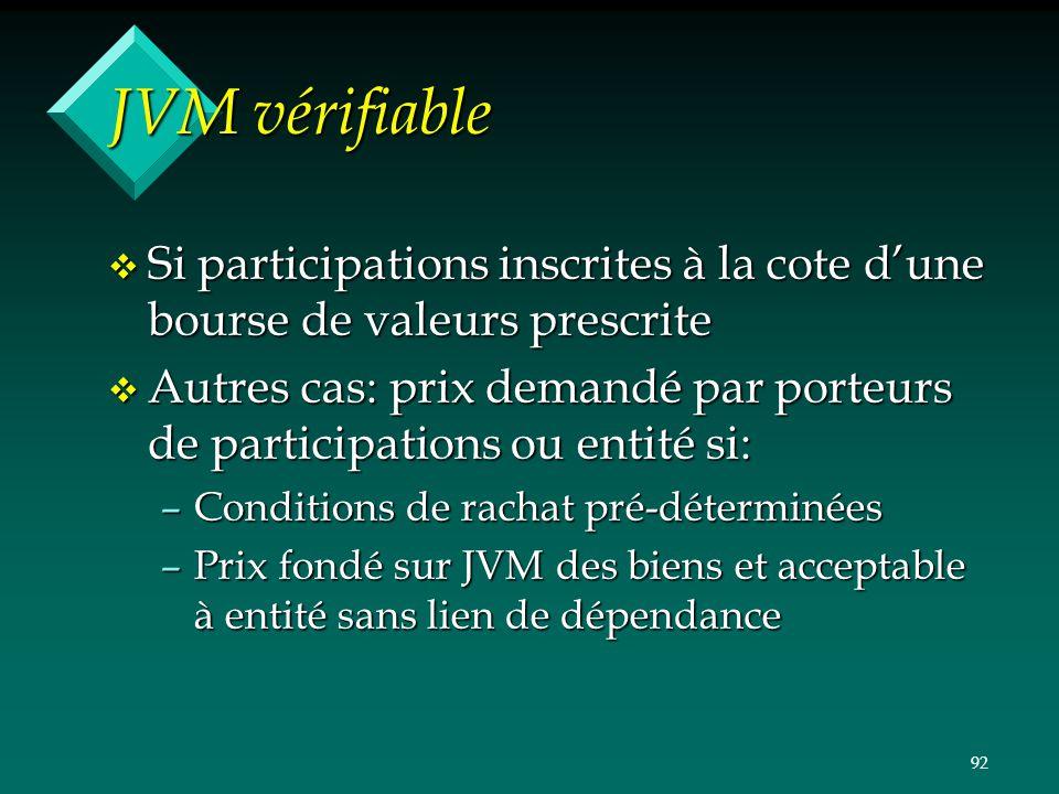 JVM vérifiable Si participations inscrites à la cote d'une bourse de valeurs prescrite.