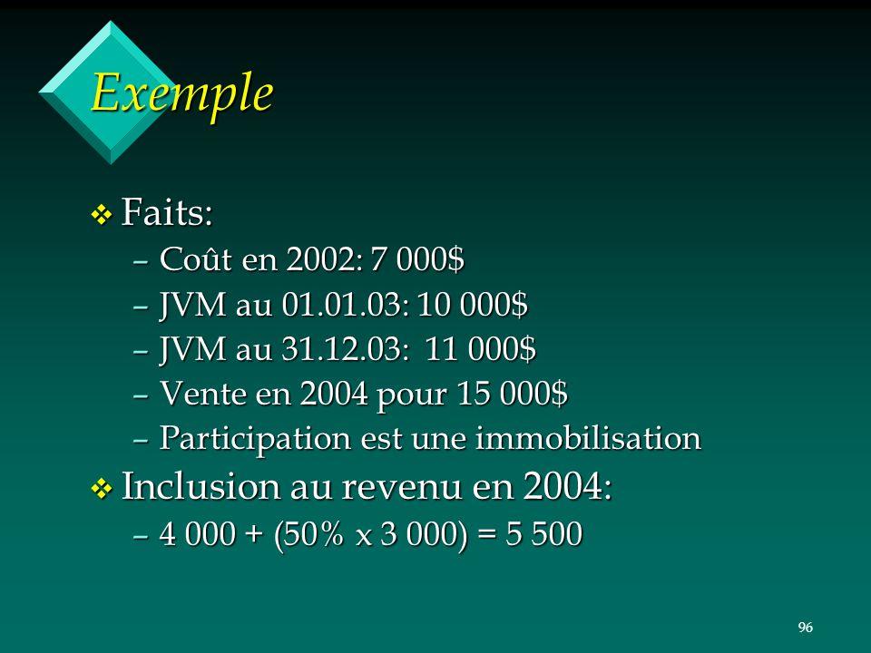 Exemple Faits: Inclusion au revenu en 2004: Coût en 2002: 7 000$