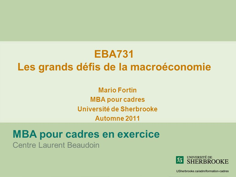 EBA731 Les grands défis de la macroéconomie