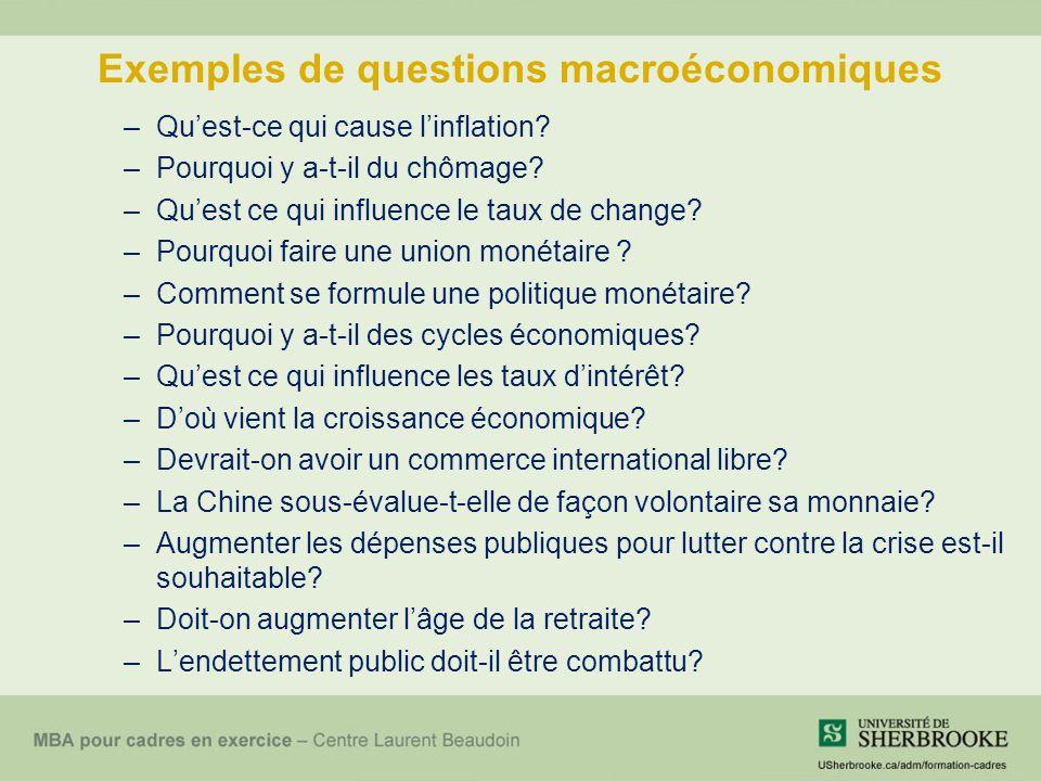 Exemples de questions macroéconomiques