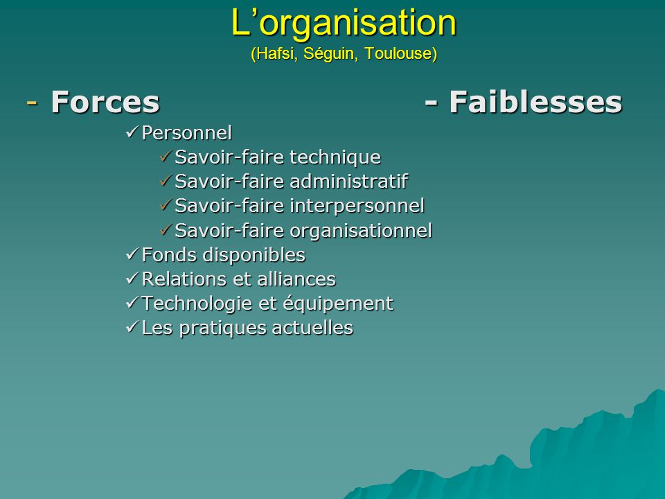 L'organisation (Hafsi, Séguin, Toulouse)
