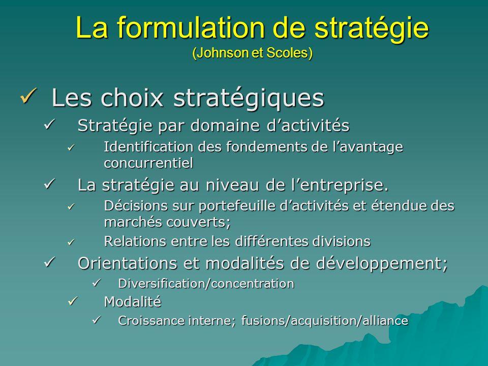 La formulation de stratégie (Johnson et Scoles)