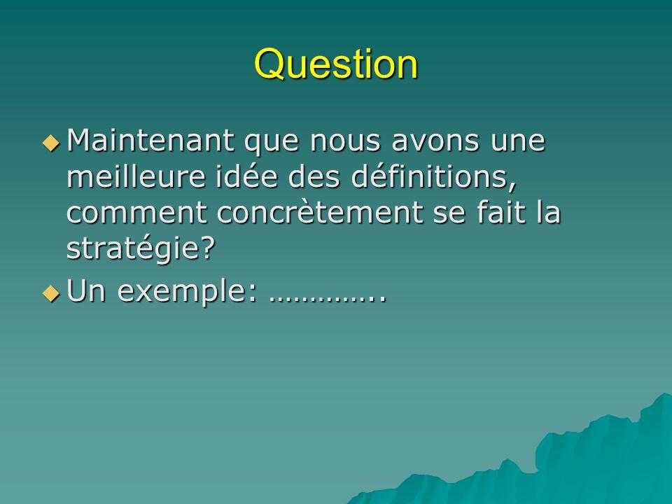 Question Maintenant que nous avons une meilleure idée des définitions, comment concrètement se fait la stratégie
