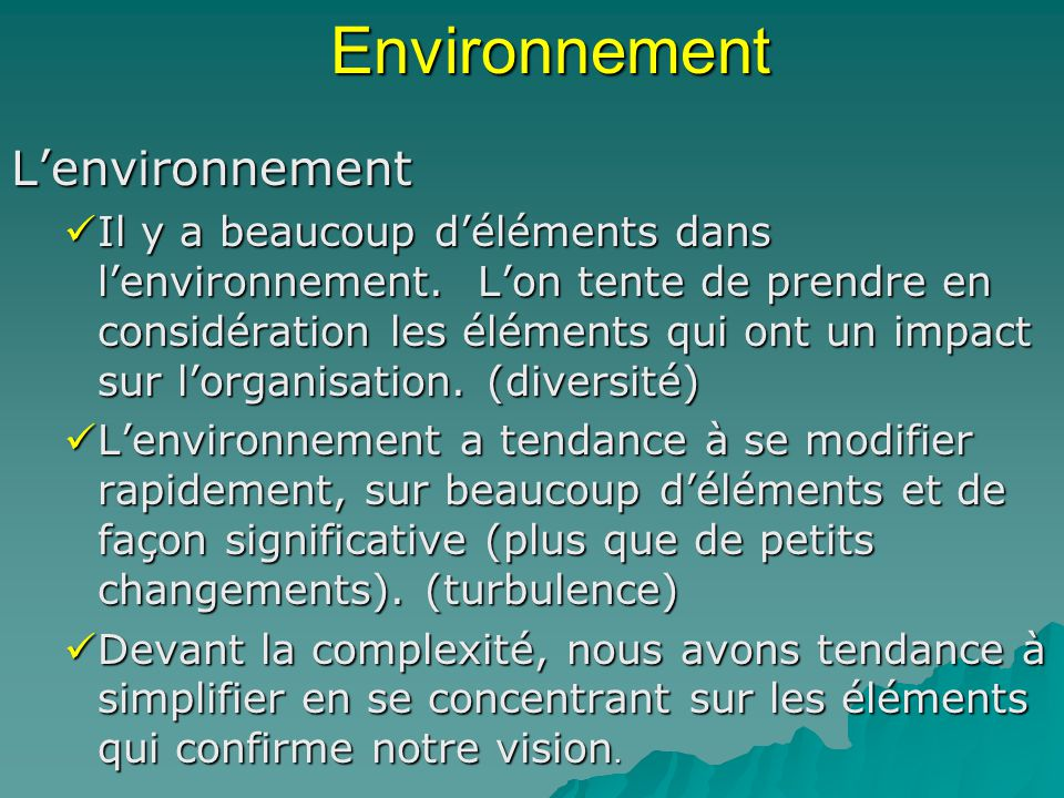 Environnement L'environnement