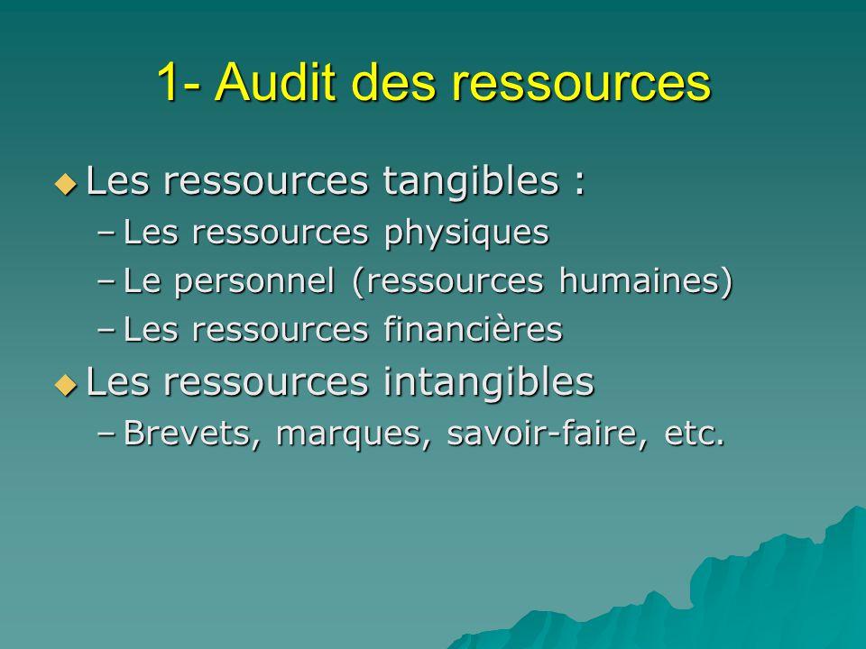 1- Audit des ressources Les ressources tangibles :