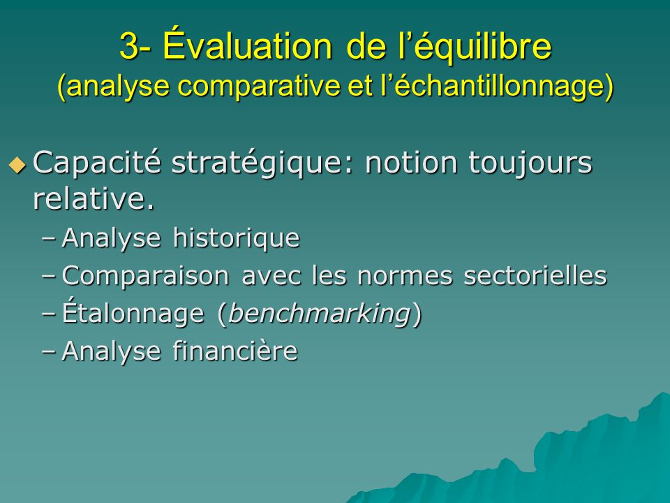 3- Évaluation de l'équilibre (analyse comparative et l'échantillonnage)
