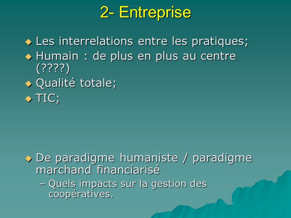 2- Entreprise Les interrelations entre les pratiques;