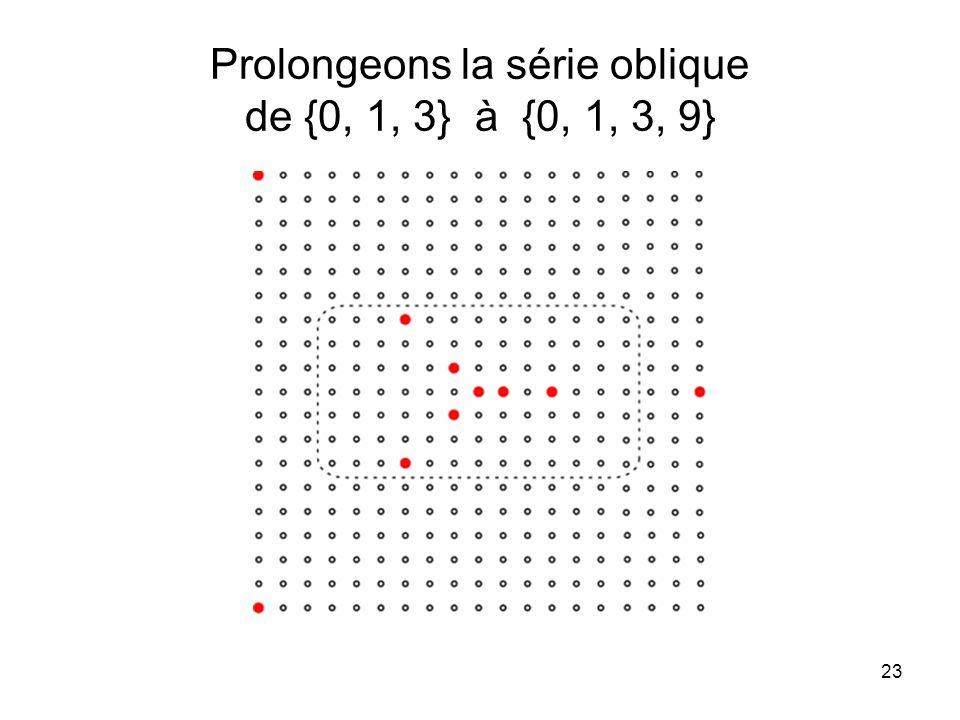 Prolongeons la série oblique de {0, 1, 3} à {0, 1, 3, 9}