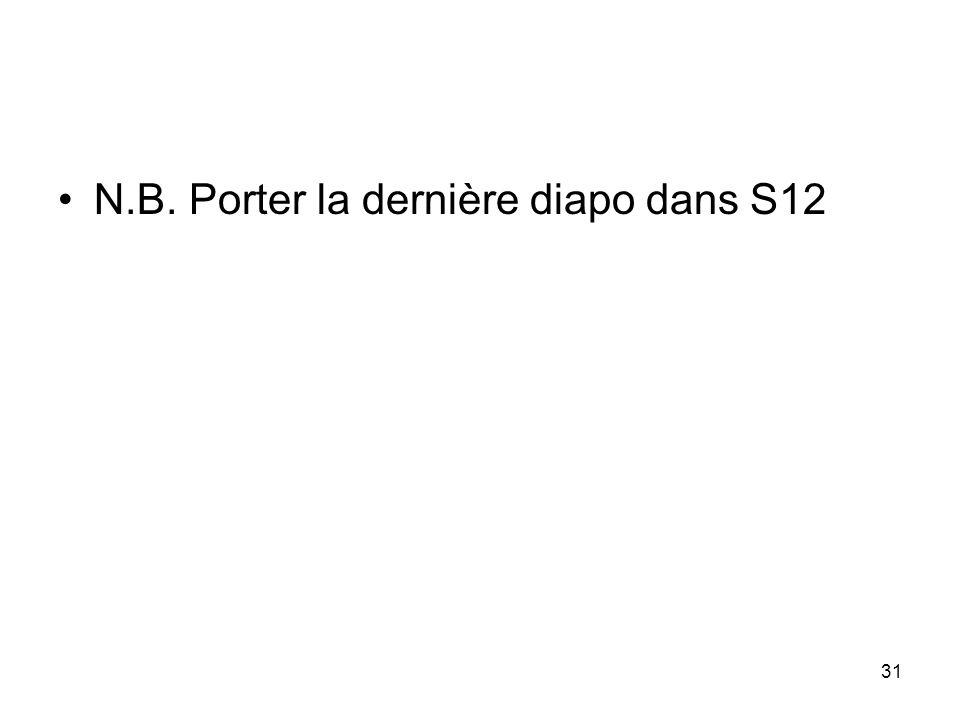 N.B. Porter la dernière diapo dans S12