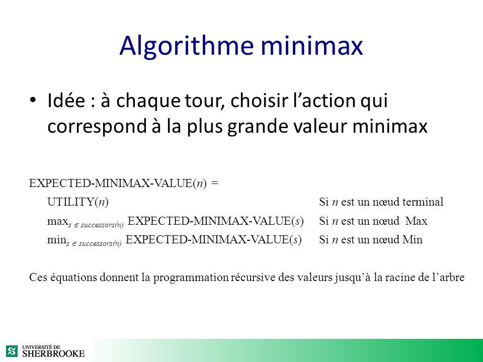 Algorithme minimax Idée : à chaque tour, choisir l'action qui correspond à la plus grande valeur minimax.