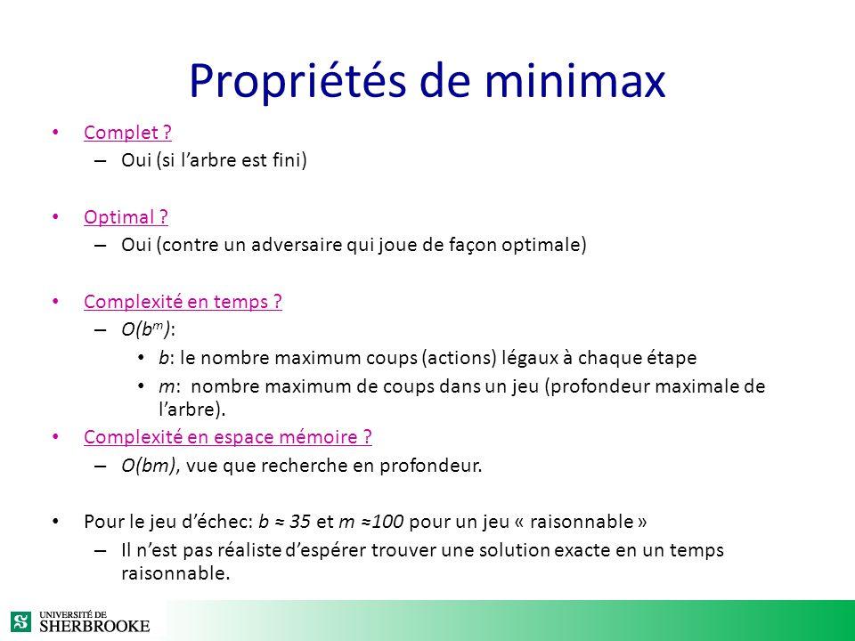 Propriétés de minimax Complet Oui (si l'arbre est fini) Optimal