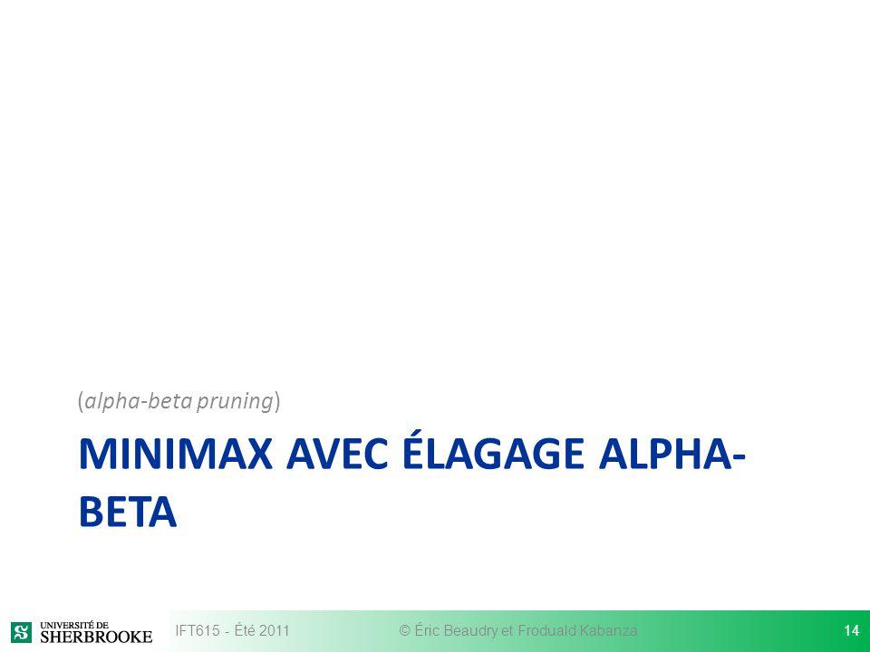 MINIMAX AVEC ÉLAGAGE ALPHA-BETA