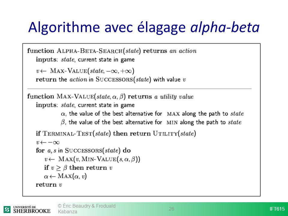 Algorithme avec élagage alpha-beta