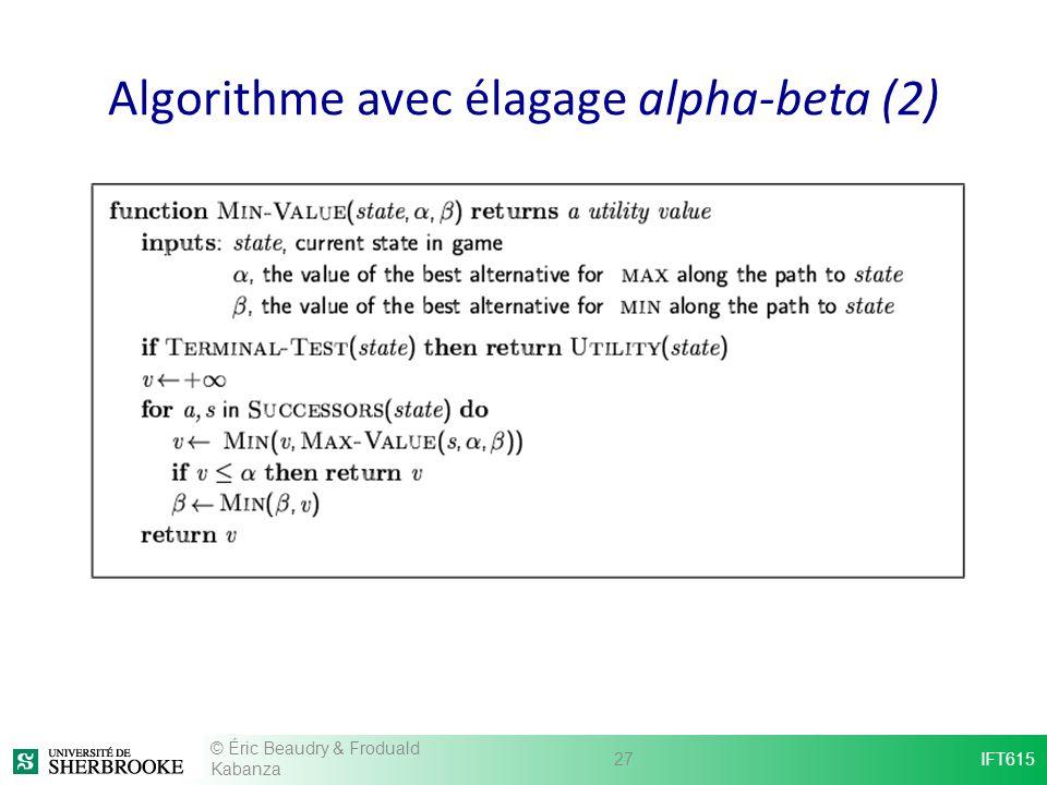 Algorithme avec élagage alpha-beta (2)