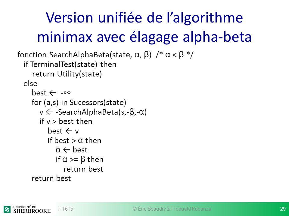 Version unifiée de l'algorithme minimax avec élagage alpha-beta