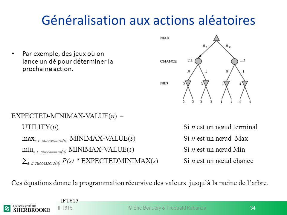 Généralisation aux actions aléatoires