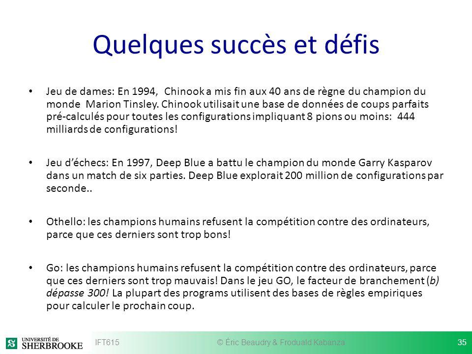 Quelques succès et défis