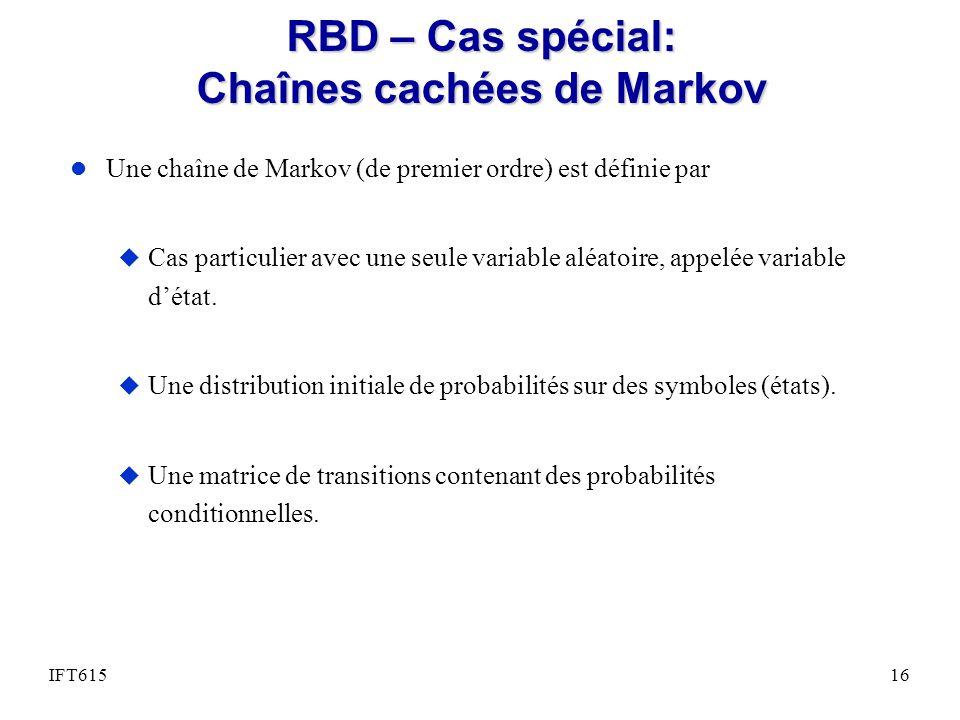RBD – Cas spécial: Chaînes cachées de Markov