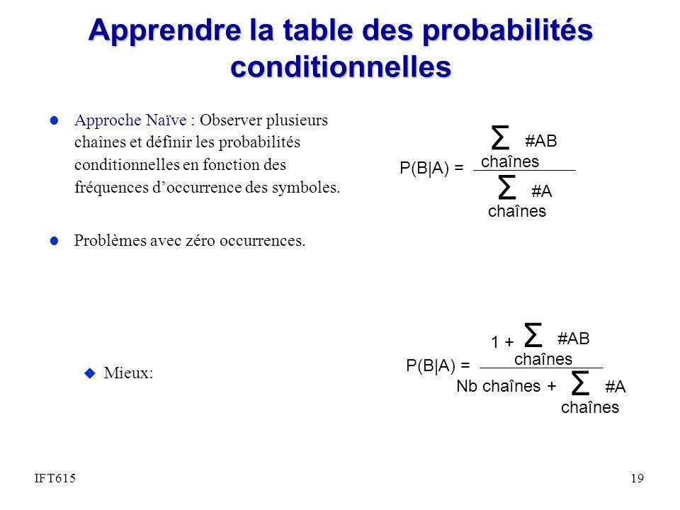 Apprendre la table des probabilités conditionnelles