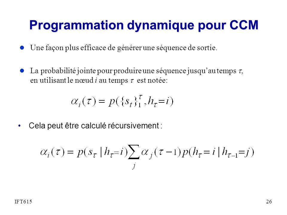 Programmation dynamique pour CCM