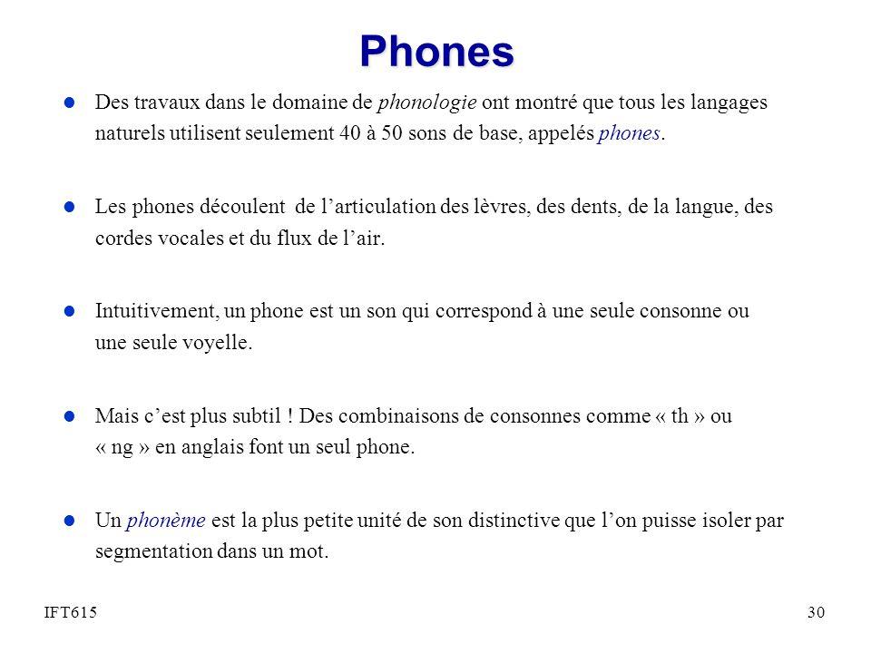 Phones Des travaux dans le domaine de phonologie ont montré que tous les langages naturels utilisent seulement 40 à 50 sons de base, appelés phones.