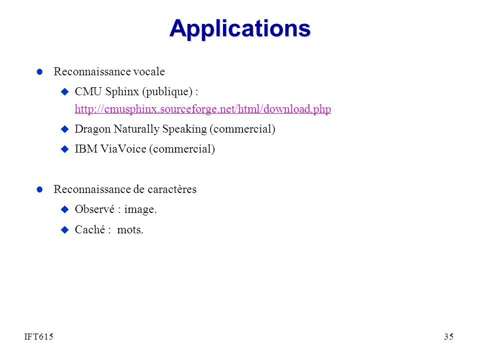 Applications Reconnaissance vocale