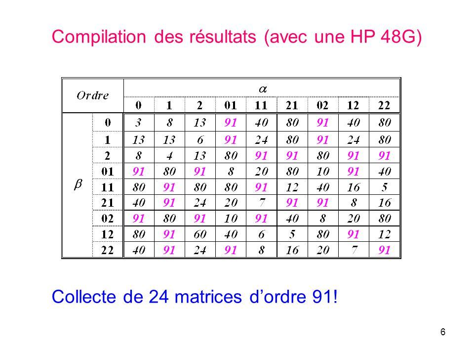 Compilation des résultats (avec une HP 48G)
