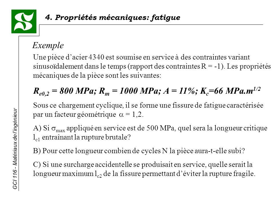 Re0,2 = 800 MPa; Rm = 1000 MPa; A = 11%; Kc=66 MPa.m1/2
