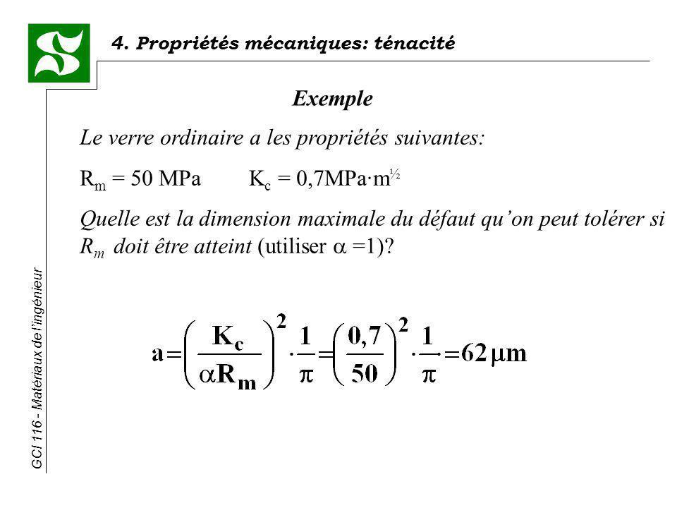 Exemple Le verre ordinaire a les propriétés suivantes: Rm = 50 MPa Kc = 0,7MPa·m½.