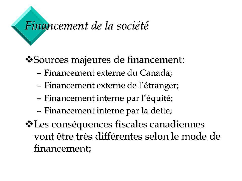 Financement de la société