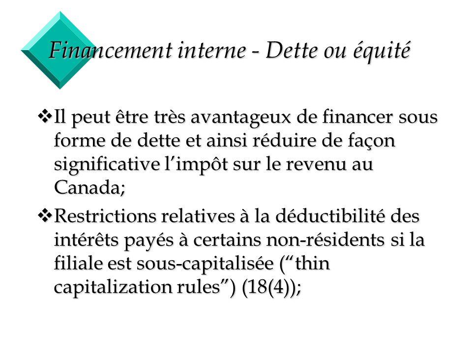 Financement interne - Dette ou équité