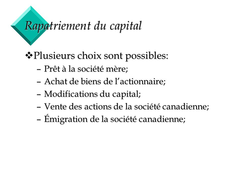 Rapatriement du capital