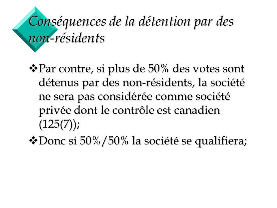 Conséquences de la détention par des non-résidents
