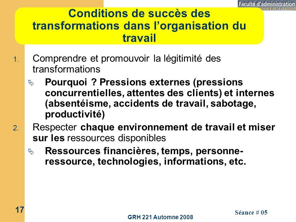 Conditions de succès des transformations dans l'organisation du travail