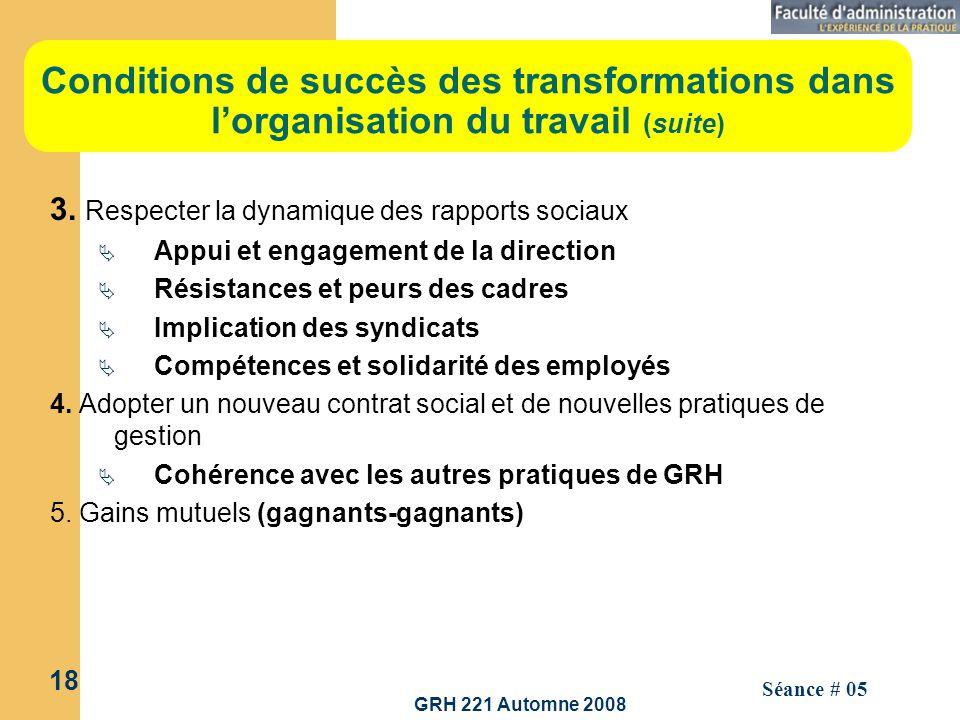 Conditions de succès des transformations dans l'organisation du travail (suite)