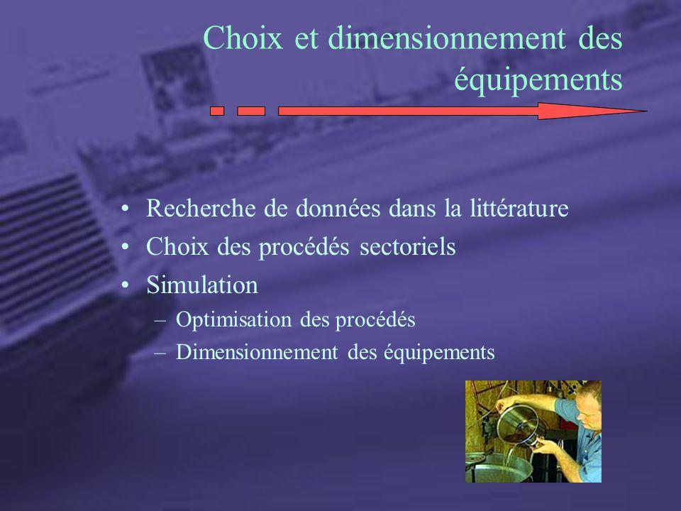 Choix et dimensionnement des équipements