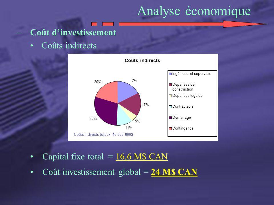 Analyse économique Coût d'investissement Coûts indirects