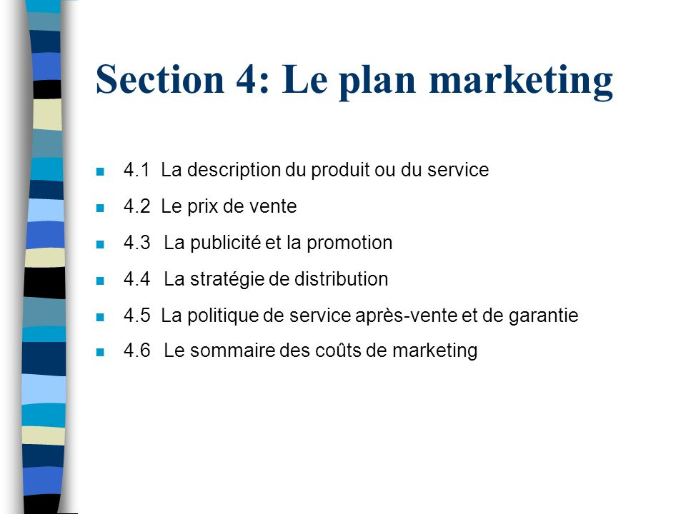 Section 4: Le plan marketing