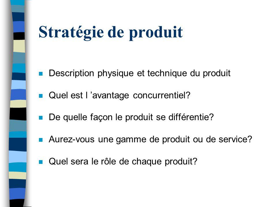 Stratégie de produit Description physique et technique du produit