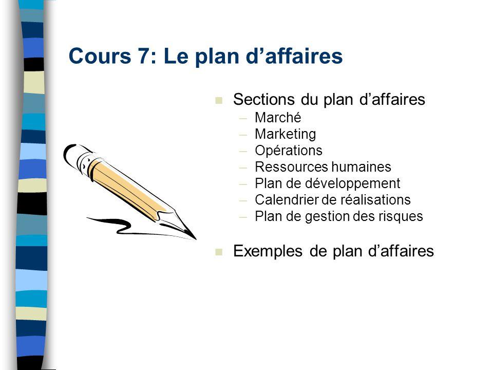 Cours 7: Le plan d'affaires