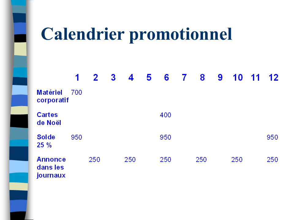 Calendrier promotionnel