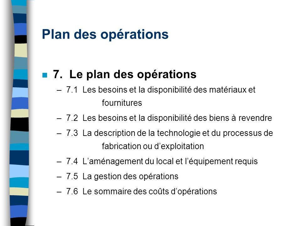 Plan des opérations 7. Le plan des opérations